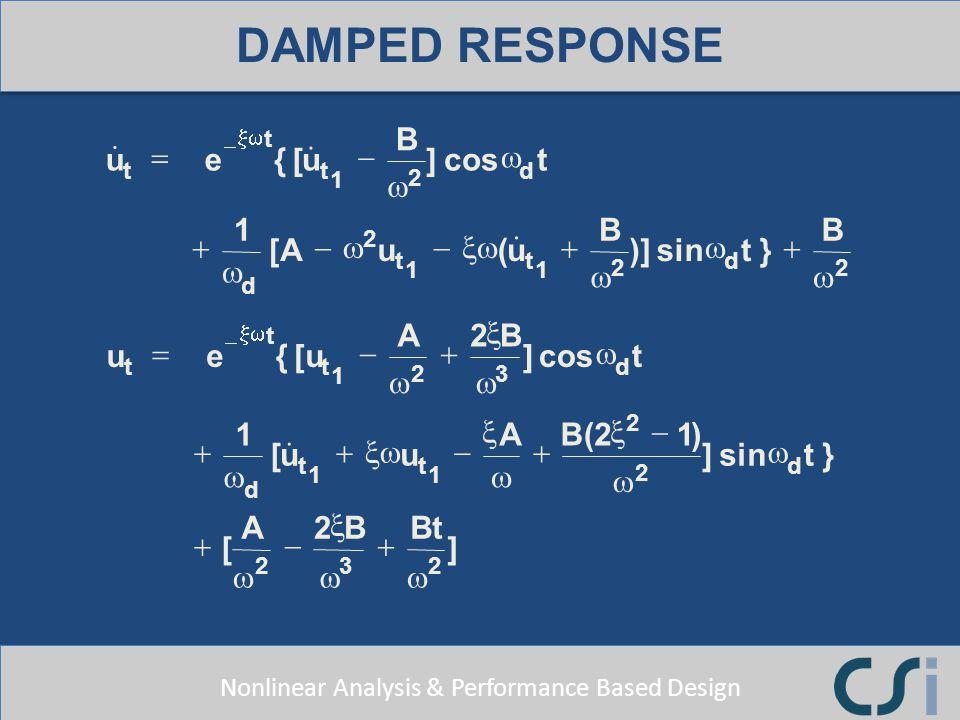 DAMPED RESPONSE { [ & ] cos ( )] sin } e u B t A = - + w Bt x [u ) xw